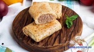 Блины с мясом и рисом. Вкусный рецепт