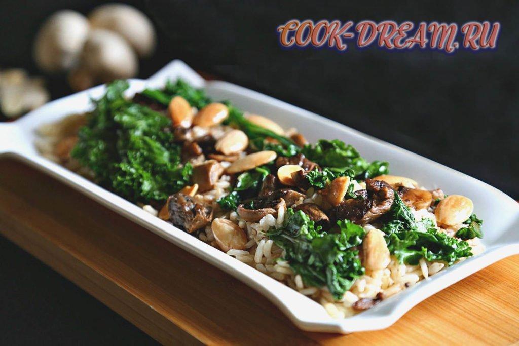 рецепт рис с жареными грибами и чесноком