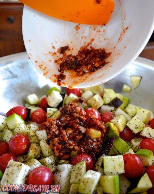 Жаренный рататуй с овощами и пастой